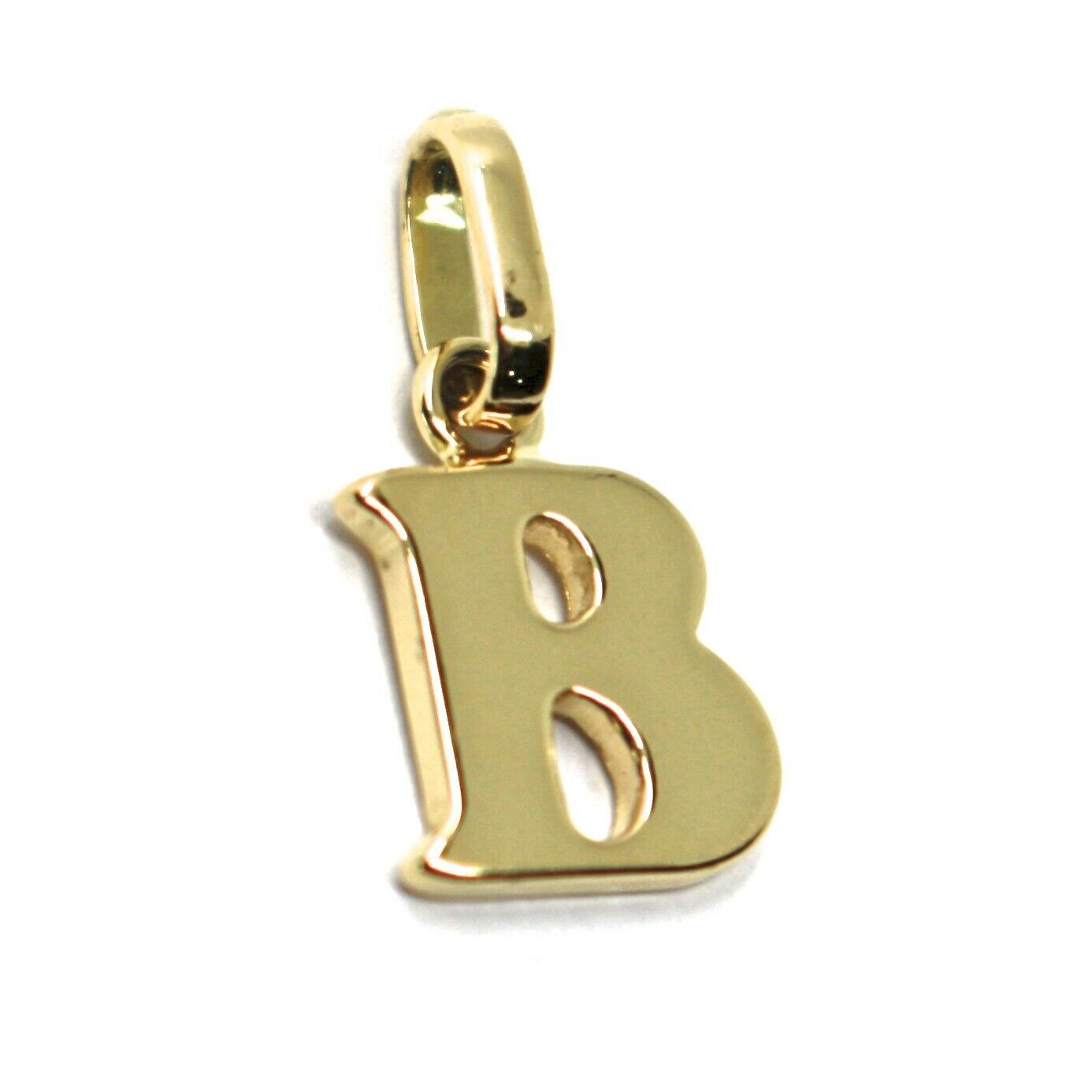 SOLID 18K YELLOW GOLD PENDANT MINI INITIAL LETTER B, 1 CM, 0.4 INCHES