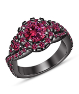Black Rhodium Finish 925 Sterling Silver Pink Sapphire Women's Engagemen... - $84.41