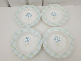 Disney Rimmed Pasta Soup Bowls Set of 4 Flower Green Blue Plaid Border W... - $48.37