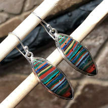 Natural Rainbow Calsilica 925 Solid Sterling Silver Marquise Earrings 40... - $69.29