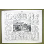 ROMAN SACRIFICE Gods Mythology Psyche Eros Graces - 1844 SUPERB Engravin... - $16.84