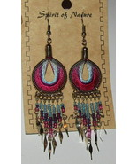 Blue Pink Earrings Thread New Spirit of Nature Handcrafted Beaded Partia... - $13.85