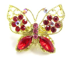Sparkling Red & Pink Small Adorable Rhinestone Butterfly Gold Tn Brooch ... - $10.88