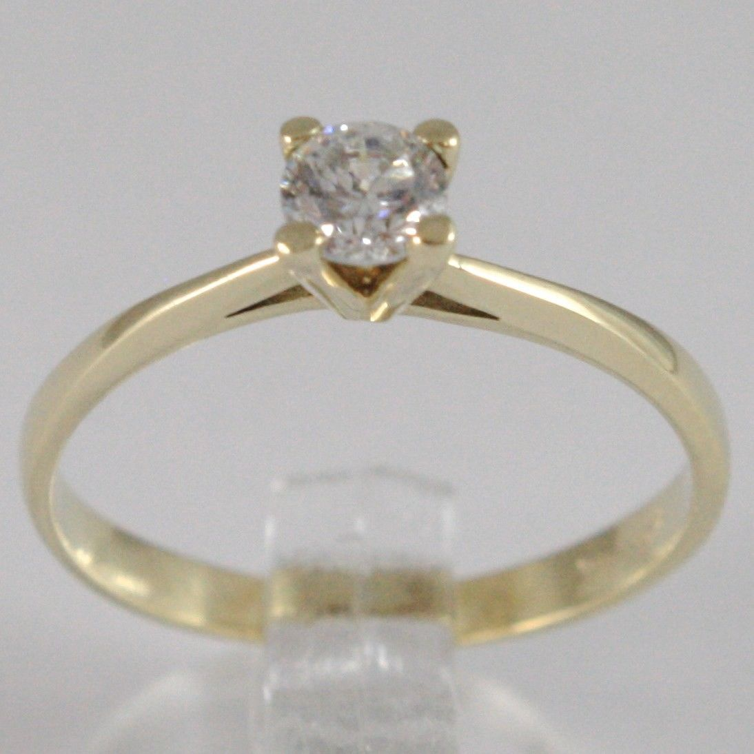 YELLOW GOLD RING 750 18K, SOLITAIRE ZIRCON CUBIC CT 0.35, MADE IN ITALY