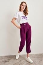 New plum purple high waist women pencil pants trousers belt fall autumn ... - $36.00