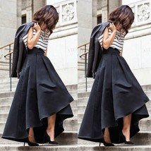 Vintage Women Stretch High Waist Flared Pleated Swing Long Maxi Skirt Dr... - $28.56