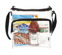 Large Clear Lunch Tote Bag Box Adjustable Strap Front Storage Compartmen... - $13.17