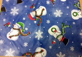 "Superior Tablecloth Flannel Back, 52"" x 108"", WINTER CHRISTMAS, SNOWMEN ... - $14.84"
