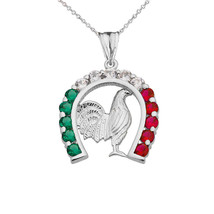 Sterling Silver Mexican Horseshoe Rooster Multicolor CZ Pendant Necklace - $29.99+