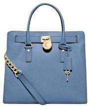 MICHAEL KORS HAMILTON CORNFLOWER BLUE SAFFIANO LEATHER TOTE BAG PURSE $3... - $248.00