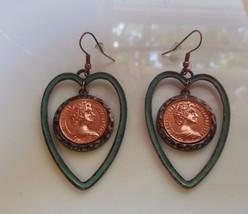 Elizabeth II Australia 1981 Enamel Heart Hook Earrings - $9.89