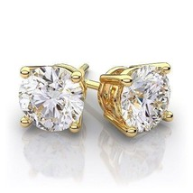 0.50Ct Simulated Diamond Brilliant Cut 14K Yellow Gold Push Back Stud Ea... - $17.80