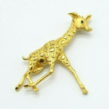 Monet Black Rhinestone Eye Gold Tone Giraffe Brooch Pin Vintage - $18.76