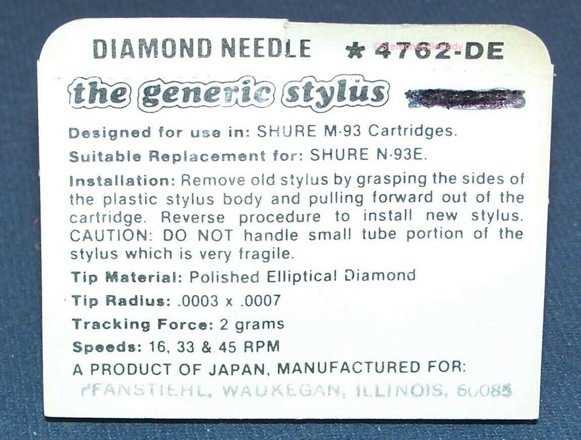 STEREO TURNTABLE STYLUS NEEDLE FOR SHURE HI TRACK N93 M93E N93E M93 4762-DE