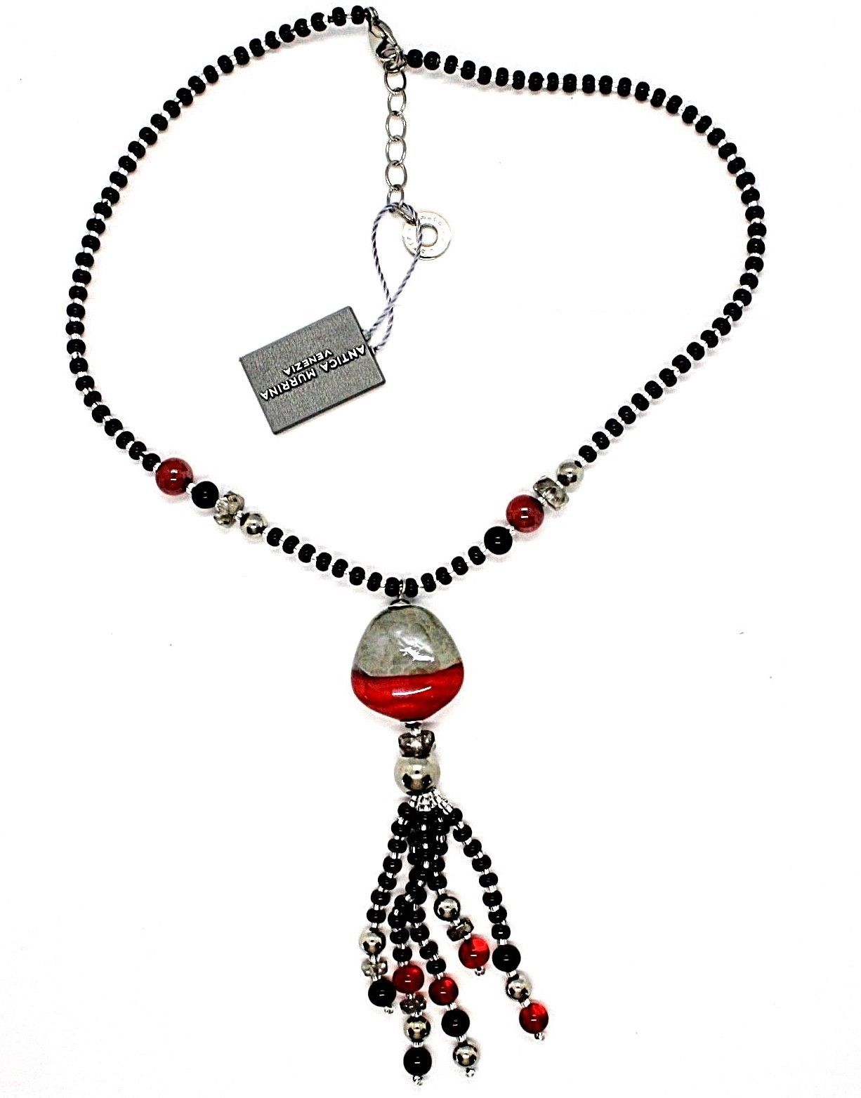 NECKLACE ANTICA MURRINA VENEZIA WITH MURANO GLASS RED BLACK SILVER CO852A14