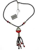 NECKLACE ANTICA MURRINA VENEZIA WITH MURANO GLASS RED BLACK SILVER CO852A14 - $64.21