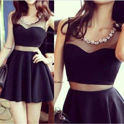 little black dress,Homecoming dresses,mini prom Dress,two pieces prom dresses