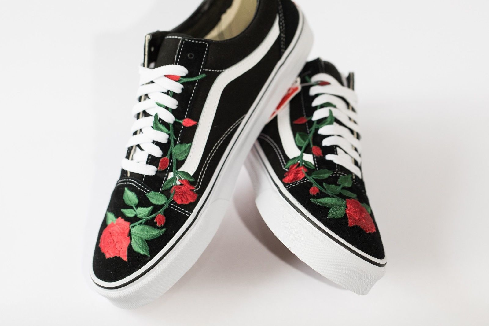 Vans Rose embroidered customs available in all sizes black and white image 7