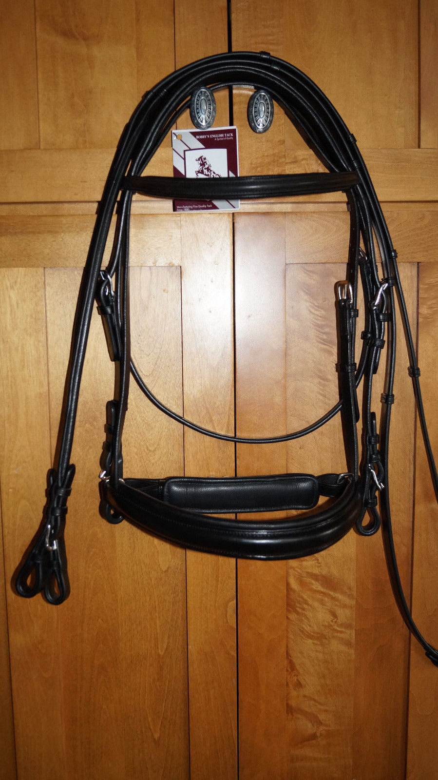 Bobby's Black FULL Crank Non Flash Bridle Regular Padded Crown w/Reins