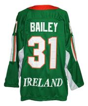 Custom Name # Team Ireland Retro Hockey Jersey New Green Bailey #31 Any Size image 2