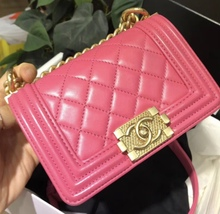Auth Chanel Quilted Lambskin Pink Mini Boy Flap Bag Gold Hardware RARE  image 9