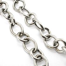 925 Silver Necklace Chain Oval Alternating Square, 48 CM Long, Zip T image 2