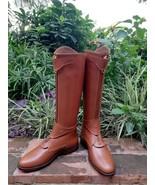 Marroncino pelle Alto Stivali da Equitazione Alta Qualità Handmade Custom - $386.22