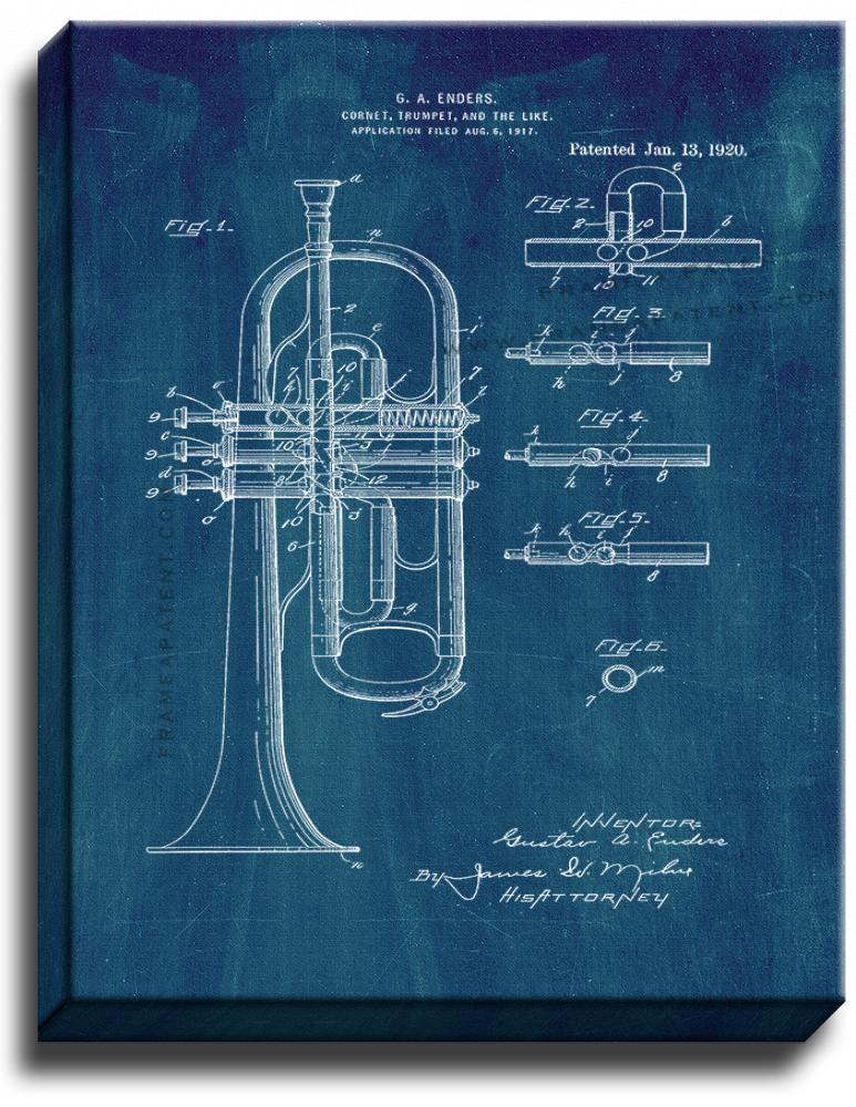 Primary image for Cornet or Trumpet Patent Print Midnight Blue on Canvas