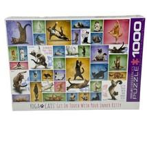 Yoga Cats Eurographics 1000 Piece Jigsaw Puzzle -  New Sealed Warrior Pose - $29.05