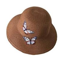 PANDA SUPERSTORE Foldable Summer Straw Hat Butterfly Embroidery Beach Su... - $24.30
