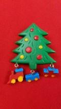 Hallmark Pin Christmas Tree with Dangling Train Underneath - $7.87