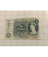 1963-1971 Bank Of England 5 Five Pound Bank Note - $50.00
