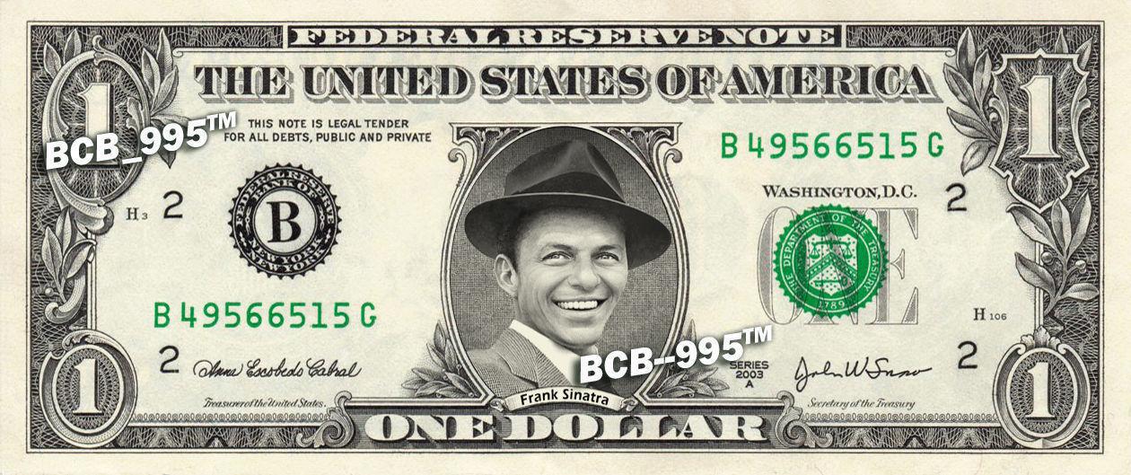 FRANK SINATRA on a REAL Dollar Bill Rat Pack Cash Money Collectible Memorabilia