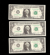 3 Federal Reserve $1 Notes consecutively numbered 1981 UNC - $14.95
