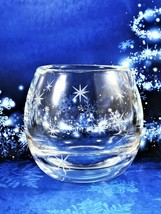 Clear Votive Tealight Holder Hand Blown And Cut Glass Candle Holder Pola... - $17.82