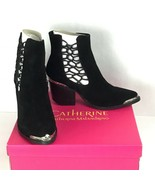 Catherine Malandrino Womens Sz 7.5M Doyle Heel Boots Ankle Slip-On Black... - $124.87