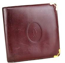 100% Authentic Must de Cartier bordeaux Leather Small Bifold Wallet  Vin... - $78.21