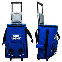 Bud Light Rolling Cooler Bag On Wheels Withtooth Speakers Blue - $75.98
