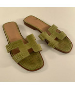 Authentic Hermes Green Crocodile Oran Flat Slide Sandals Size 36 - $970.20