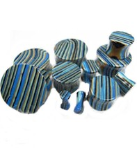 "PAIR-Stone Agate Blue Stripe Saddle Flare Ear Plugs 22mm/7/8"" Gauge Body... - $13.99"