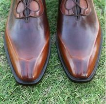 Handmade Men's Brown Fashion Dress/Formal Leather Shoes image 4