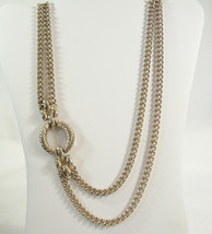 "Curb Link Chain SIDE ACCENT 2 Strand Necklace Gold Plated 29"" Vintage Es... - $15.83"