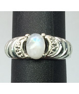 14k Rainbow Moonstone & Diamond Ring, Free Sizing - $289.00