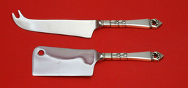 DANISH CROWN BY FRIGAST STERLING SILVER CHEESE SERVER SERVING SET 2P HHWS CUSTOM - $135.95