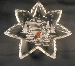 Walther Glas Glass Cake Cookie Plate West Germany Waltherglas Holiday Snow - $17.33