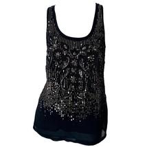 Express Womens Black Sequins Beaded Scoop Neck Sleeveless Tank Top Sz S - $11.88