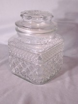 "Elegant glass cookie/candy jar approx 6.5"" tall with lid (looks like cut... - $6.81"
