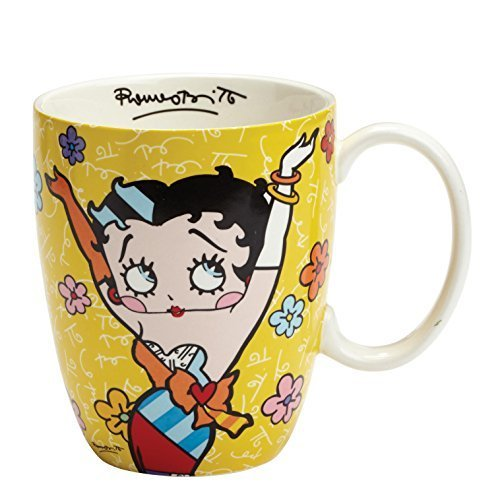 "Enesco Betty Boop by Britto Yellow Mug, 4.25"", Multicolor"