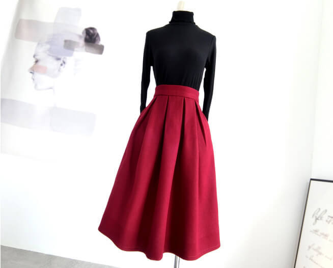 Winter Long Pleated Skirt Warm Woolen Midi Pleated Party Skirt BURGUNDY BLACK