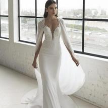 New Modern Modern Style Deep V Neck Sparkly Lace Trumpet Mermaid Wedding Dress w image 2
